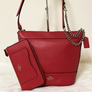 New💃Coach Duffle Paxton Leather Hobo Bag +Wallet